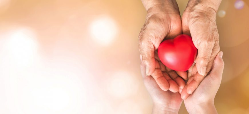 Two pairs of hands, one older and one younger, cup a small red heart which symbolized heart and cholesterol health in senior citizens.