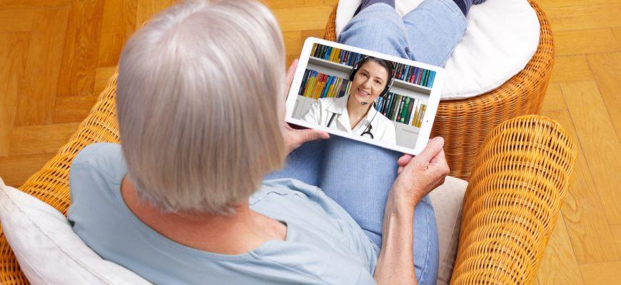 A senior using telemedicine.