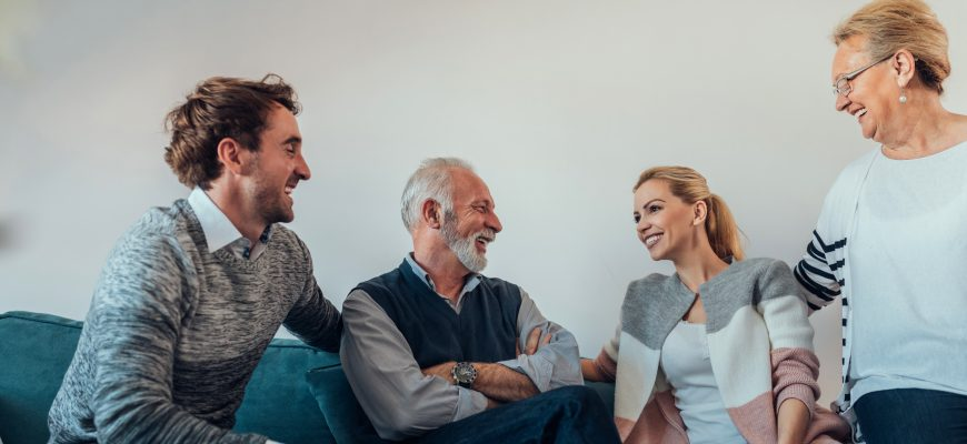 Family discussing senior care, tips for disputes, assisted living options